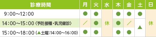 診療時間9:00〜18:00